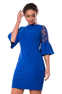 Womens Lace Patchwork Flare Sleeve Plus Size Dress Blue