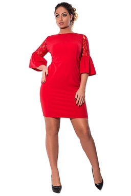 Womens Lace Patchwork Flare Sleeve Plus Size Dress Red