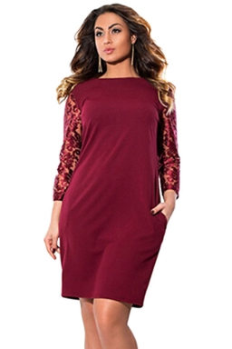 Womens Plus Size Lace Patchwork Sleeve Plain Midi Dress Dark Red