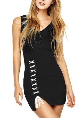 Womens V-neck Lace-up Backless Side Slit Plain Tank Dress Black