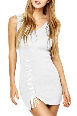 Womens V-neck Lace-up Backless Side Slit Plain Tank Dress White