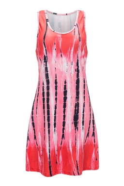 Womens Striped Color Gradient Racerback Tank Dress Watermelon Red