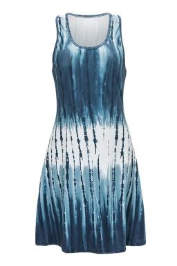 Womens Striped Color Gradient Racerback Tank Dress Navy Blue