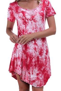Womens Tie Dye Irregular Hem Short Sleeve Smock Dress Watermelon Red