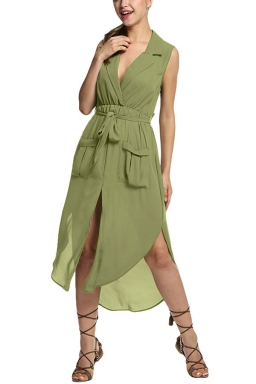 Womens V-neck Sleeveless Slit Pockets Sheer Maxi Dress Army Green