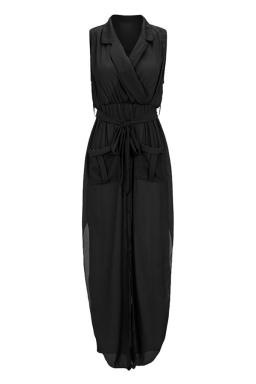 Womens V-neck Sleeveless Slit Pockets Sheer Maxi Dress Black