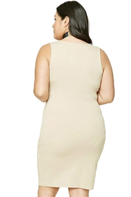 Womens Plus Size V Neck Plain Bodycon Tank Dress Beige