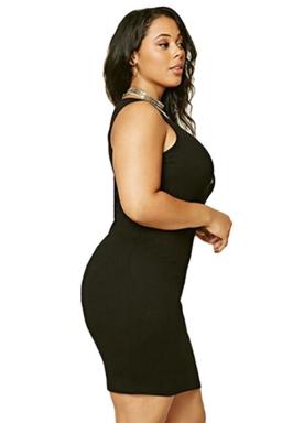 Womens Plus Size V Neck Plain Bodycon Tank Dress Black