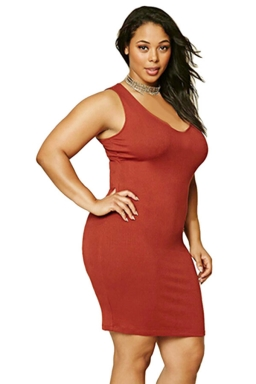 Womens Plus Size V Neck Plain Bodycon Tank Dress Red