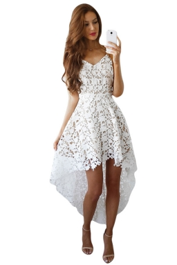 Womens Hollow Out High Low Sleeveless Plain Prom Dress White