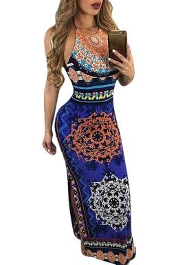 Womens Halter Printed Backless Sides Slit Maxi Dress Blue