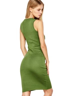 Womens Hollow Out Plain Midi Sleeveless Tank Dress Green
