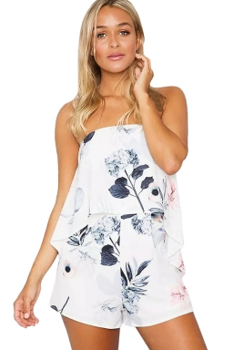 Womens Strapless Floral Printed One Piece Romper Gray