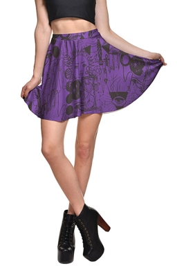 Womens High Waist Doodle Printed Pleated Skirt Purple