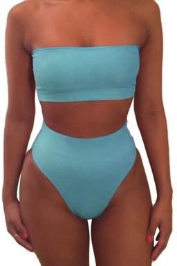 Womens Sexy Plain Bandeau Top&High Waist Bottom Bikini Set Blue