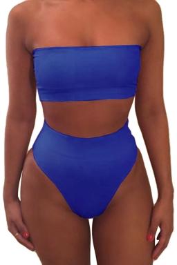 Womens Plain Bandeau Top&High Waist Bottom Bikini Set Sapphire Blue