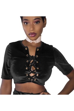 Womens Cross Lace-up Short Sleeve Plain Crop Top Black