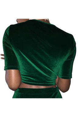 Womens Cross Lace-up Short Sleeve Plain Crop Top Green