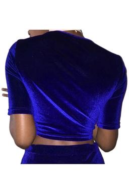 Womens Cross Lace-up Short Sleeve Plain Crop Top Sapphire Blue