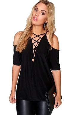 Womens Cold Shoulder Lace-up Short Sleeve Plain T Shirt Black