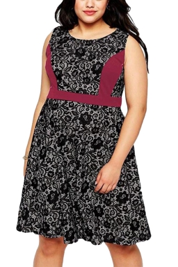 Womens Lace Patchwork Plus Size Sleeveless Midi Dress Dark Red