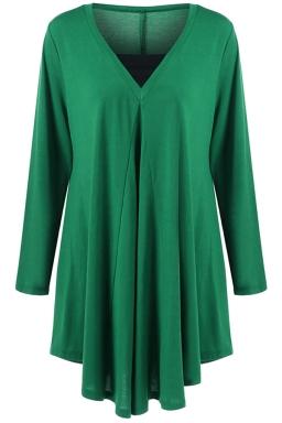 Womens Plus Size V Neck Asymmetric Long Sleeve Plain Dress Green
