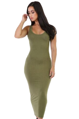 Womens Stretchy Slimming Long Tank Dress Green