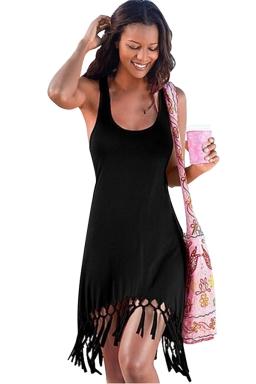 Womens Sexy Fringe Hem Waisted Tank Dress Black