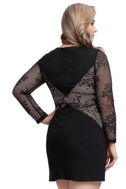 Womens Plus Size Lace Patchwork Crew Neck Long Sleeve Dress Black