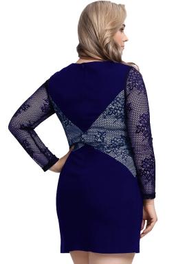 Womens Plus Size Lace Patchwork Crew Neck Long Sleeve Dress Navy Blue