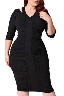 Womens Plus Size Waisted Pleated Half Sleeve Midi Dress Black