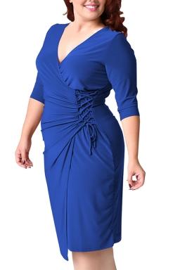 Womens Deep V-neck Plus Size Lacing Half Sleeve Midi Dress Blue