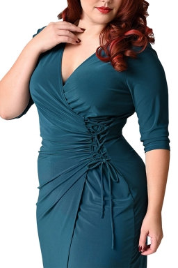 Womens Deep V-neck Plus Size Lacing Half Sleeve Midi Dress Turquoise