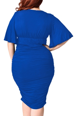 Womens Plus Size Deep V-neck Pleated Ruffle Sleeve Dress Blue