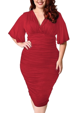 Womens Plus Size Deep V-neck Pleated Ruffle Sleeve Dress Ruby