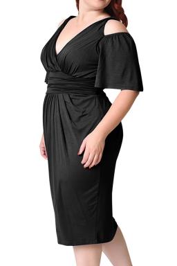 Womens Plus Size Cold Shoulder V-neck Waisted Midi Dress Black