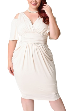Womens Plus Size Cold Shoulder V-neck Waisted Midi Dress White