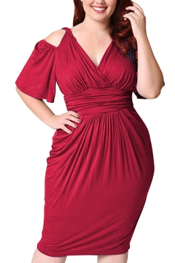 Womens Plus Size Cold Shoulder V-neck Waisted Midi Dress Ruby