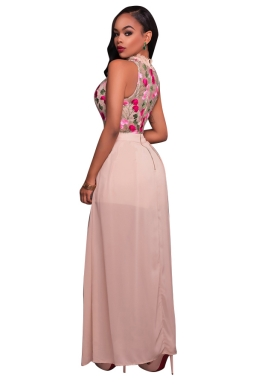 Womens Floral Printed Sheer Sleeveless Romper with Maxi Dress Pink