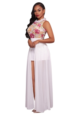 Womens Floral Printed Sheer Sleeveless Romper with Maxi Dress White