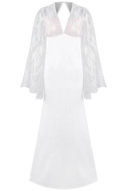Womens Deep V Neck Lace Flare Sleeve Maxi Evening Dress White