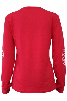 Womens Crewneck Letter Printed Long Sleeve Pullover Sweatshirt Red