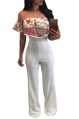 Womens Off Shoulder High Waist Embroidery Palazzo Jumpsuit Rose Red