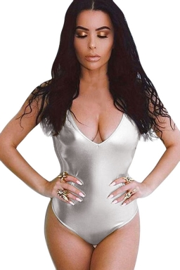 Womens Metallic Spaghetti Straps Deep V Neck Plain Bodysuit Silvery