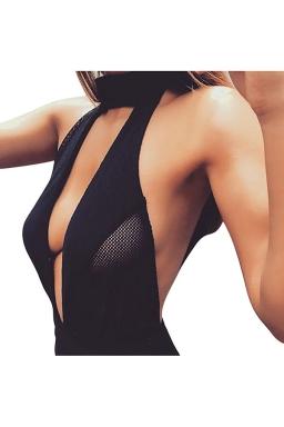 Womens Halter Plunging Neck Mesh Patchwork Plain Bodysuit Black