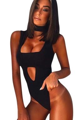 Womens High Neck Bandage Cut Out Plain Tube Bodysuit Black