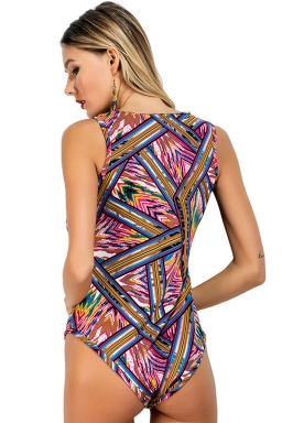 Womens V Neck Striped Printed Sleeveless One Piece Bodysuit Purple