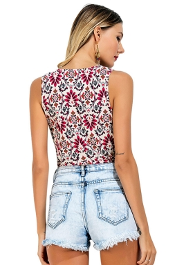 Womens V Neck Floral Printed Sleeveless One Piece Bodysuit White
