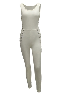 Womens Sides Keyhole Lace-up High Waist Plain Catsuit White