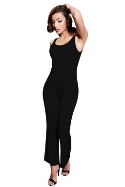 Womens Backless Bell Bottom Sleeveless Plain Jumpsuit Black